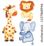 Stock photo watercolor set with cute animals giraffe lion elephant isolated illustration on white 1157868946