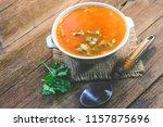 homemade vegetable soup  ...   Shutterstock . vector #1157875696