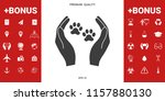 shelter pets sign icon. hands... | Shutterstock .eps vector #1157880130
