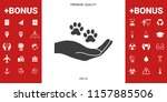 hand holding paw symbol. animal ... | Shutterstock .eps vector #1157885506