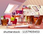 messy room interior vector... | Shutterstock .eps vector #1157905453