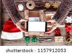 christmas presents . woman... | Shutterstock . vector #1157912053