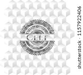 Stock vector celt grey badge with geometric cube white background 1157922406