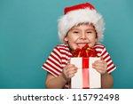 Smiling  Funny Child In Santa...