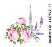 the eiffel tower card. eiffel... | Shutterstock .eps vector #1157939449