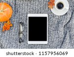 creative autumn flat lay... | Shutterstock . vector #1157956069