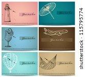 vintage business cards set. Vector illustration EPS8