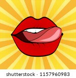 sweet red lips on dot and... | Shutterstock . vector #1157960983