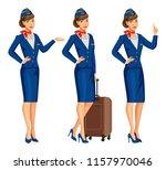 stewardess in blue uniform....   Shutterstock . vector #1157970046