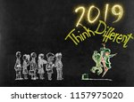 new year 2019 think different... | Shutterstock . vector #1157975020