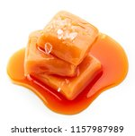 melted caramel candies with sea ... | Shutterstock . vector #1157987989