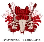 vector music banner with skulls ... | Shutterstock .eps vector #1158006346