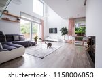 real photo of a spacious living ... | Shutterstock . vector #1158006853