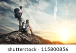 two tourists with backpacks... | Shutterstock . vector #115800856