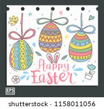 cute doodle egg and colorful... | Shutterstock .eps vector #1158011056