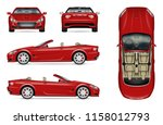 red convertible car vector... | Shutterstock .eps vector #1158012793