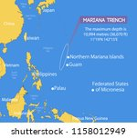 location of the mariana trench... | Shutterstock .eps vector #1158012949
