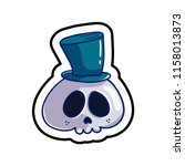 fashion patch skull badge. cute ... | Shutterstock .eps vector #1158013873