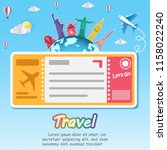 travel and flights background... | Shutterstock .eps vector #1158022240