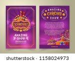 circus flyer  cartoon banner ... | Shutterstock . vector #1158024973