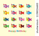 cute fish goes party vector.... | Shutterstock .eps vector #1158026683