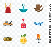 set of 9 transparent icons such ... | Shutterstock .eps vector #1158042160