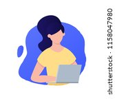 woman is working on laptop... | Shutterstock .eps vector #1158047980