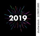 new year 2019 sign with... | Shutterstock .eps vector #1158051880