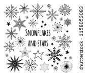 hand drawn vector snowflakes... | Shutterstock .eps vector #1158053083
