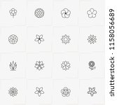 flowers line icon set with... | Shutterstock .eps vector #1158056689