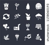 set of 16 icons such as apple...
