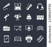 set of 16 icons such as film...