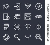 set of 16 icons such as zoom...