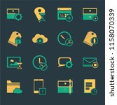 set of 16 icons such as notepad ...