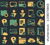 set of 25 icons such as phone...