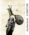 Mutant Snail Man. Copy Space....