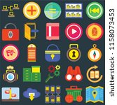 set of 25 icons such as map ...