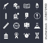 set of 16 icons such as dna...