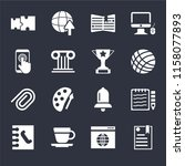 set of 16 icons such as ebook ...