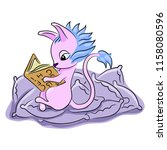a cute animal sits on pillows... | Shutterstock .eps vector #1158080596