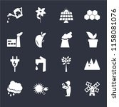 set of 16 icons such as wind...