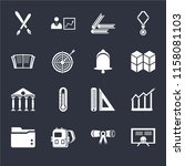 set of 16 icons such as diploma ...