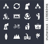 set of 16 icons such as flower  ...