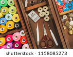 sewing accessories and multi... | Shutterstock . vector #1158085273