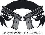 two pistols and banner    Shutterstock .eps vector #1158089680