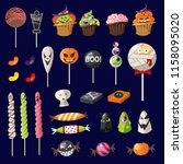 cartoon halloween sweets on... | Shutterstock .eps vector #1158095020