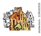 hand drawn sketch of cartoon... | Shutterstock . vector #1158102310