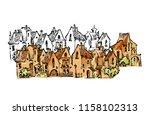 hand drawn sketch of cartoon... | Shutterstock . vector #1158102313