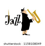 man playing saxophone. jazz... | Shutterstock . vector #1158108049