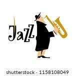 man playing saxophone. jazz... | Shutterstock . vector #1158108049